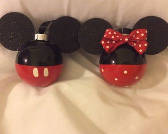 Set of 12 Mickey and Minnie Inspired Ornament