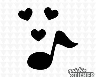 Music Note Decal with Hearts Love | Car, Window, Laptop, Wall Sticker