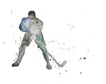 "Watercolour print ""Hockey Player"""