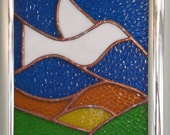 White Dove at Sunrise Stained Glass