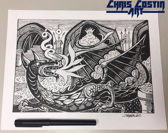 Smaug Drawing - The Hobbit (Fan Art)