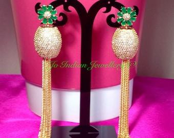 Cz stone studded chain drop earrings
