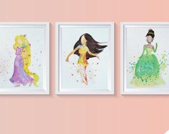 Disney Princesses in Watercolor, Prints of Original Paintings (6 Princesses)