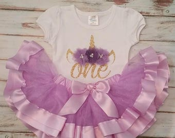 Lavender Purple and Gold Unicorn 1st or 2nd Birthday 3d Shirt and Ribbon Tutu Birthday Outfit