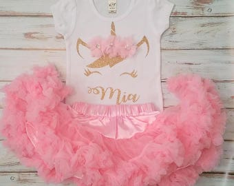 Light Pink and Gold Unicorn Personalized Birthday 3d Shirt and PettiskirtTutu Birthday Outfit