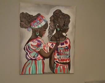 2 girls braiding hair painting, African girls,