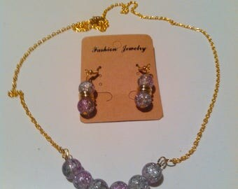 Two Tone Purple and White Necklace and Earrings