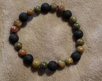 Lava Stones with Tigers Eye and Red Tigers Eye Bracelet