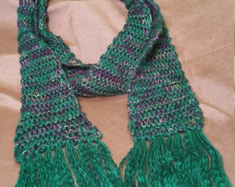 Jewel-tone green fringed scarf