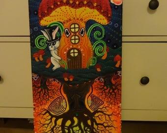 Fantastic fairytale world, mushroom or tree, top as below, floureszierende colors, lights in black light with rhinestones, Goa decoration