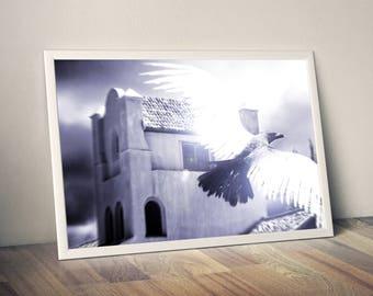 crow illusion, crow,  illusion, crow  art, crow print,crow  poster,  illusion art, surreal art, animal art, wall art, poster, digital print