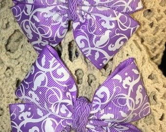 Hair Bows, Boutique bow, Pinwheel Bow, Bow Set, Fancy Bow, Stacked Boutique, Girls hair bow, Braided Center, Lavender, Overstacked Bow