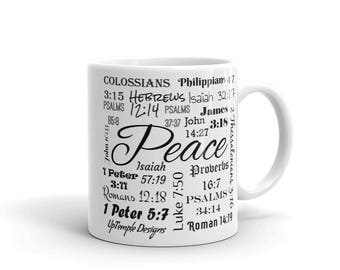 Peace Mug with Scriptures relating to Peace