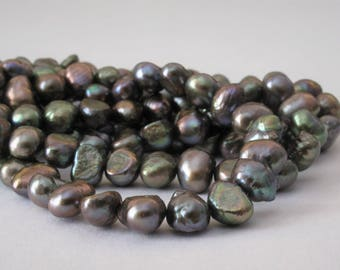 6-7 mm Full Strand Green Peacock Potato Nugget Pearl Beads,Genuine Freshwater Pearl Beads,Cultured Olive Green Nugget Pearl Beads (PNGN-020)