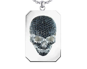 "3-Dimensional Skull Necklace with Black Spinel in Sterling Silver with 24"" Curb Solid Curb Chain"