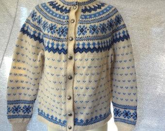 60s Vintage LULLE OTTERSTAD CARDIGAN Sweater Blue Nordic Snowflake Birdseye Sz M