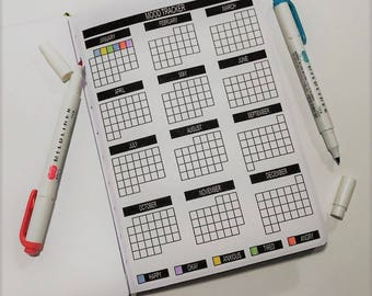 Yearly Mood Log for Passion Planner, Bullet Journal Planner Stickers, Tracker Stickers