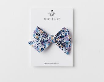 Liberty Wiltshire Blue Pinwheel Bow- Knotted Bow - Liberty Bow Clip - Floral Baby Hair Clip - Oversized Bow Clip - Baby Nylon Headband