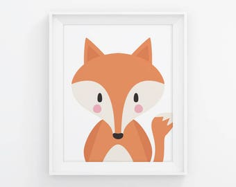 PRINTABLE Fox Nursery Wall Art. Neutral Baby Room Woodland Decor. Cute Kids Poster. Digital Print Instant Download 8x10-11x14-16x20-A4-A3