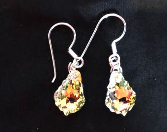 Genuine Swarovski crystal aurora borealis pear-shaped dangle earrings