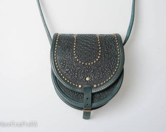 Green leather purse,  round leather bag, green bag with metal, embossed bag, crossbody bag, tooled green bag, gift for her, unique purse