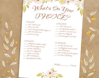 What's On Your Phone, Bridal Shower Printable Game, Pink And Green Floral, Instant Download
