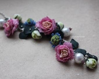 Bracelet with flowers polymer clay