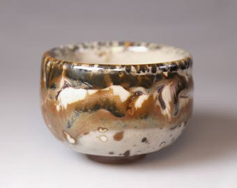 Glost-fired Earthen Teacup- Rich texture;ceramic gift,Japanese style handmade tea cup with gold, white multi-colored glaze,handmade pottery