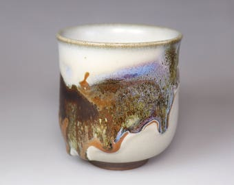 Glost-fired Earthen Teacup;Handmade;Taiwan pottery;Japan style;Ceramicware;Unique gifts;pottery;Multi-coloured cup; tea ceremony;food safe