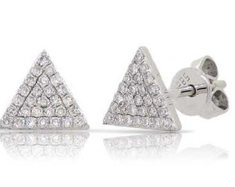 Triangle Crawlers Small Diamond Stud Earrings 14k Gold - 0.16 Ct.
