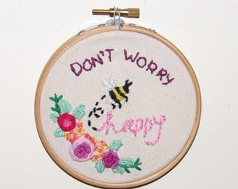 Colourful positive embroidery hoop home living decor