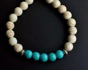 8mm Bracelet - Turquoise/White Howlite