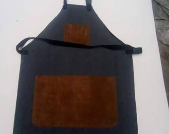 Apron in jeans and leather swede pocket