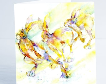 Flying Start Hares. Greeting Card - from an original Sheila Gill Watercolour Painting
