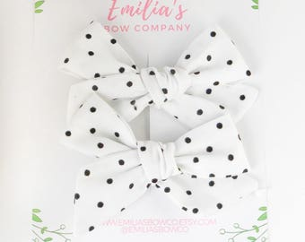 Black and White Polka Dot Pigtail Bows, Hand tied bows, Toddler Bow