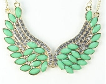 Gold and green wings necklace with rhinestones