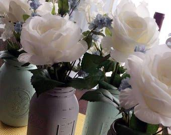 Distressed Mason Jar Vases