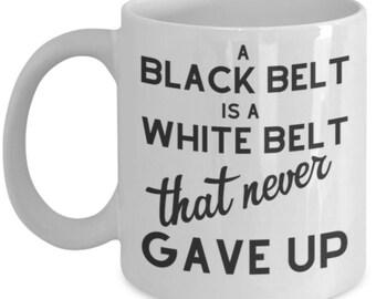 Black Belt Mug Judo Tae Kwon Do Judo Karate White Belt White Ceramic Coffee Tea Cup 11 oz 15 oz