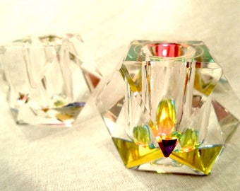 Exquisite Glass Candle Pair