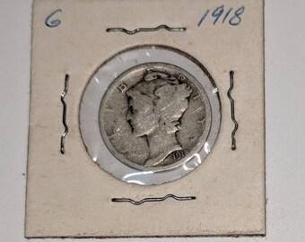 1918 P SILVER MERCURY DIME