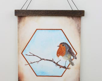 Original watercolor Robin with wooden frame