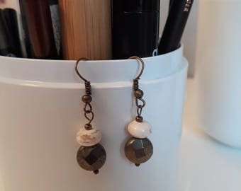 Gold pyrite and magnesite earrings