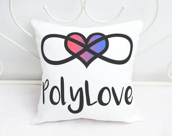 Romantic Polyamory Pillow / Pillow Case - PolyLove with Infinity Symbol & Heart - 18x18 Square Throw Pillow Home Decor Valentine's Day Gift