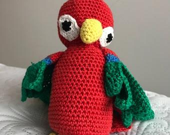 crochet parrot plushie handmade
