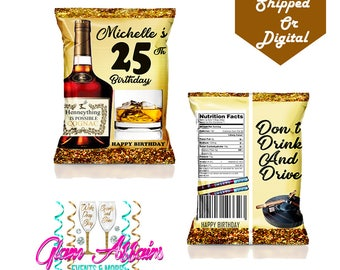 Hennessy Chip Bag -  Favor Bags - Custom Chip Bags - Hennessy Party - Hennessy - Digital - Printable - Printed - Chip Bags