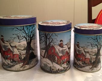 Winter Scene Set of 3 tin Canisters