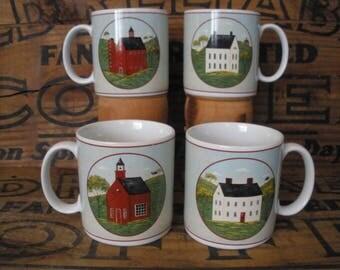 Vintage Warren Kimble Folk Art Coffee Mug/ Sakura Country Life Coffee Mug/ Brandon House Collection Mugs/ Gift Mug/ Set of (4)