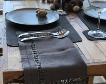 Set of 2 Pieces - Rustic Brown Pure Linen Napkins Hemstitched Handmade