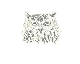 Eagle Owl Pencil Drawing PRINT