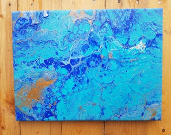 Blue Gold Silver Glitter Fluid Acrylic Pour Painting Wall Decor by PaintingsbyAbbyUS